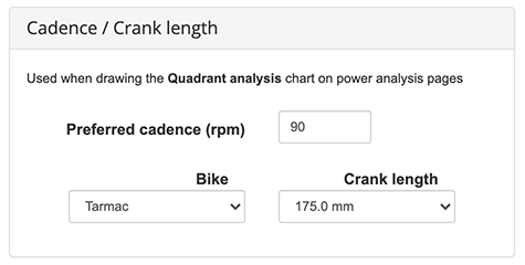 Cadence and Crank Length settings